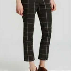 Free People Cotton Crop Slim Fit Plaid Trouser